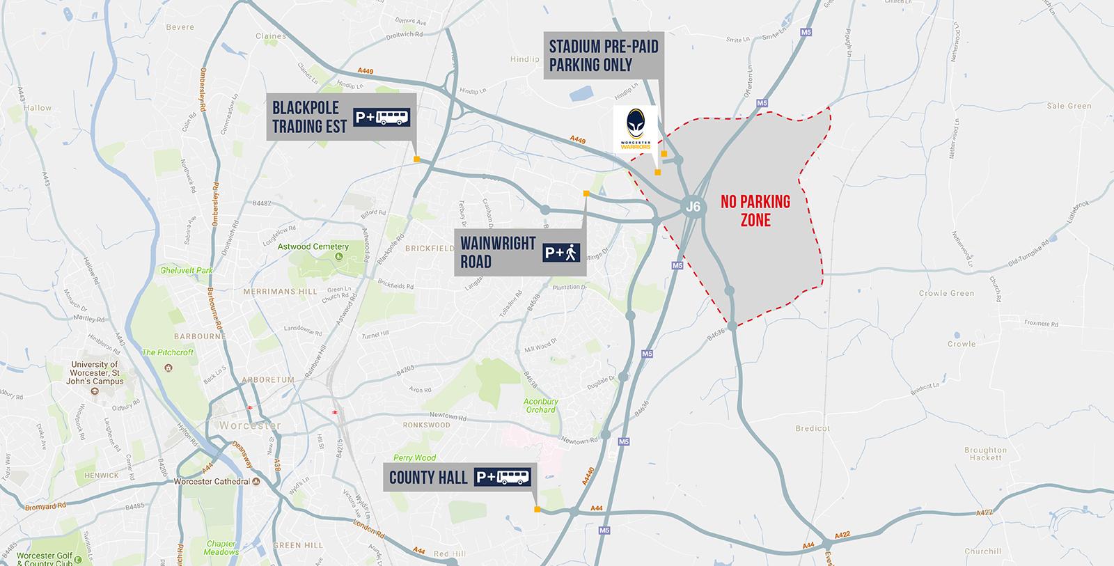 Uk Parking Map Travel & Parking – Worcester Warriors