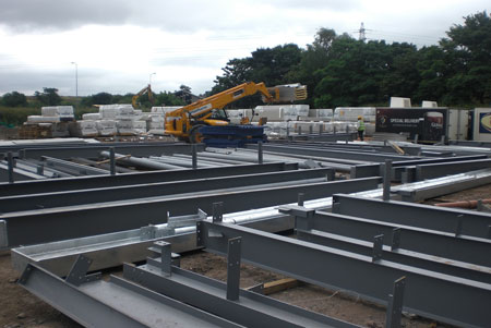Steelwork ready for placement
